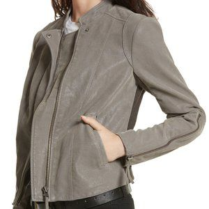 FREE PEOPLE Faux Leather Moto Jacket in Gray